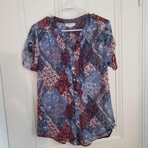 Multi patterned blouse